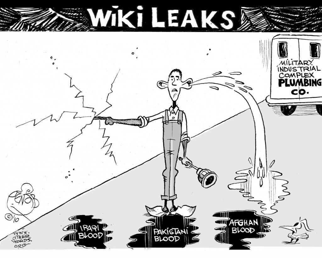 Plugging WikiLeaks cartoon