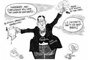 Half-Full Champagne Flute, an OtherWords cartoon by Khalil Bendib.
