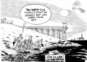 Tar Sands, an OtherWords cartoon by Khalil Bendib