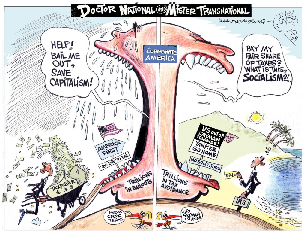 Dr. National and Mr. Transnational cartoon