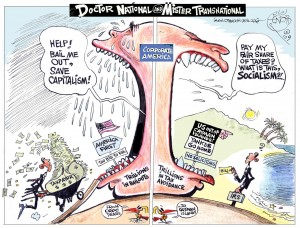 Dr. National and Mr. Transnational, OtherWords cartoon by Khalil Bendib