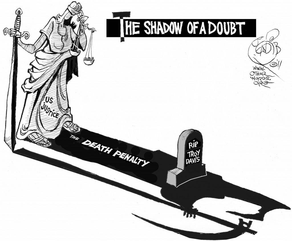 Doubt's Long Shadow, an OtherWords cartoon by Khalil Bendib.