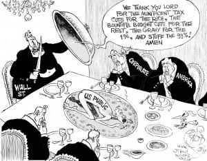 Thanksgiving on Wall Street, an OtherWords cartoon by Khalil Bendib.