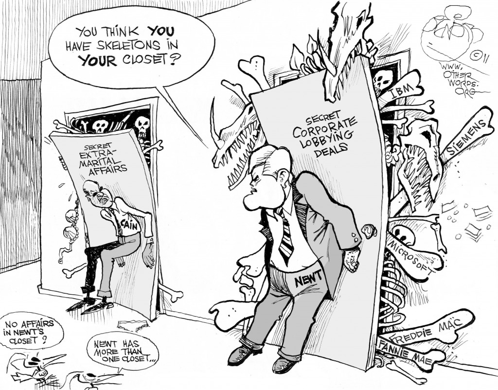 GOP Closets, an OtherWords cartoon by Khalil Bendib.