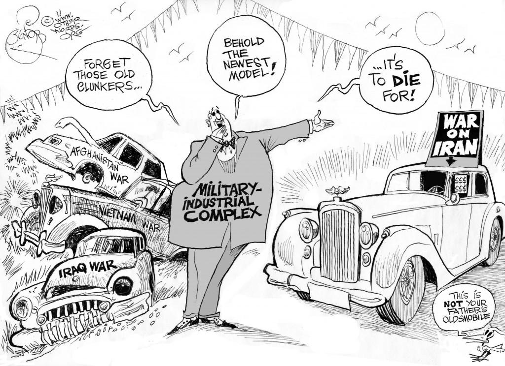 Shiny New War, an OtherWords cartoon by Khalil Bendib.