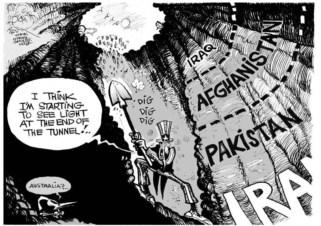 Endless War, an OtherWords cartoon by Khalil Bendib.