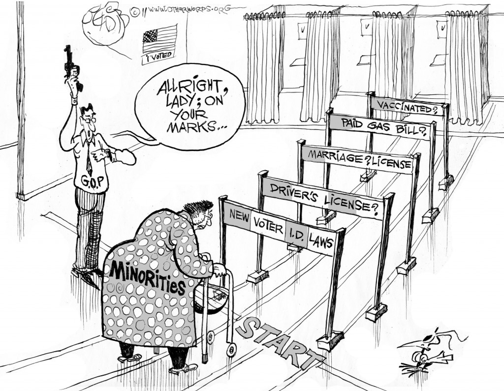 Voting Rights Obstacles cartoon