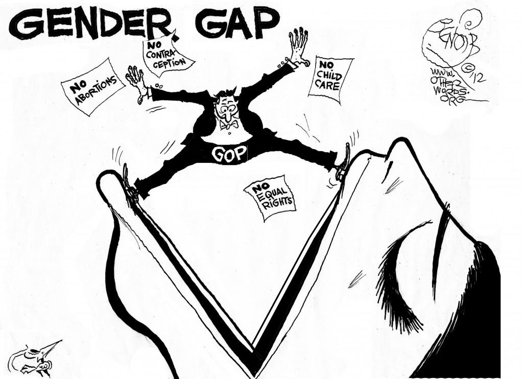 Gender Gap, an OtherWords cartoon by Khalil Bendib.