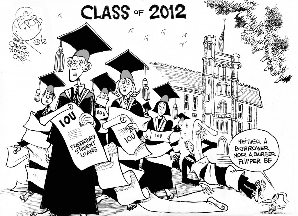 Graduating into Debt, an OtherWords cartoon by Khalil Bendib.