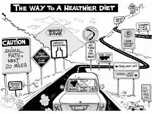 """Vegan on Board,"" an OtherWords cartoon by Khalil Bendib."