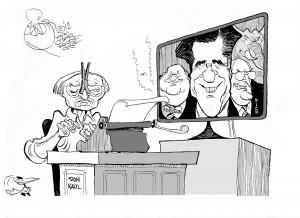 Donald Kaul Signs Off, an OtherWords cartoon by Khalil Bendib.