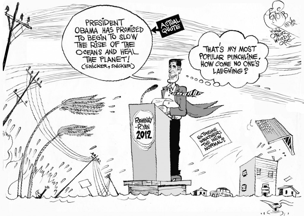 Sandy Trumps Romney's Climate Joke cartoon