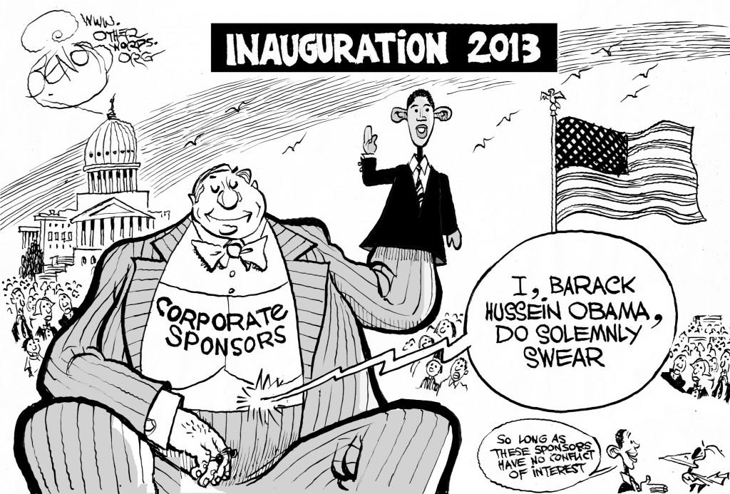 corporate sponsored inaguration cartoon