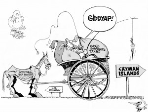 Taxing Economics, an OtherWords cartoon by Khalil Bendib