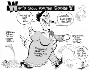 Oklahoma's Silly Goose, an OtherWords cartoon by Khalil Bendib