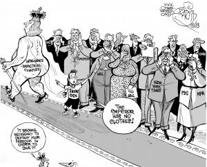 The Naked Dragnet Emperor, an OtherWords cartoon by Khalil Bendib