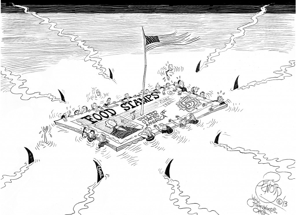 Food Stamps SOS, an OtherWords cartoon by Khalil Bendib