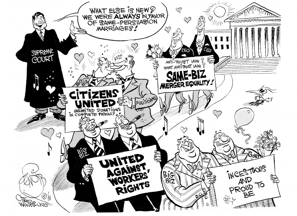 Merger Equality at the Supreme Court, an OtherWords cartoon by Khalil Bendib