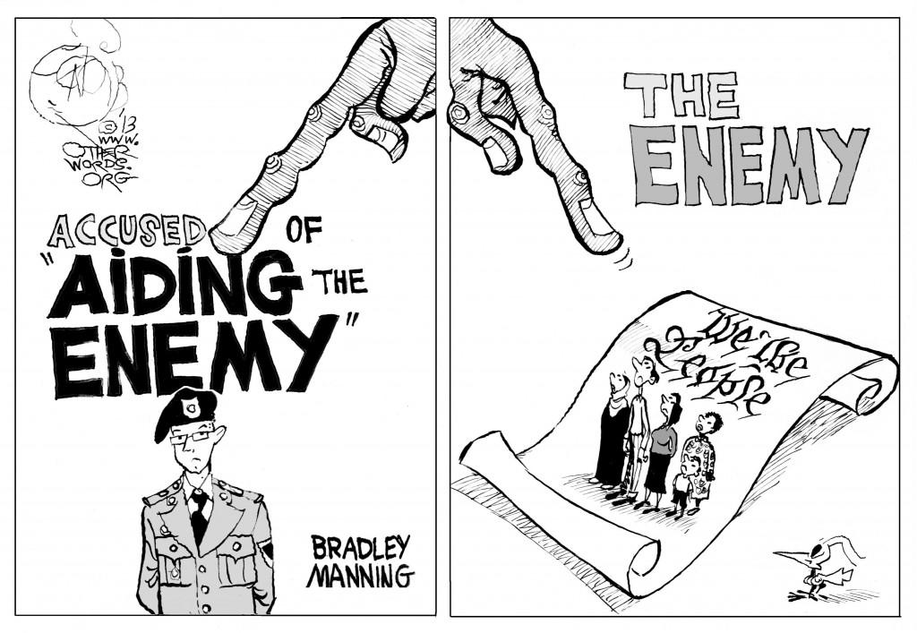 Aiding the Enemy, an OtherWords cartoon by Khalil Bendib