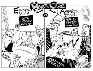Patients vs Profits, an OtherWords cartoon by Khalil Bendib