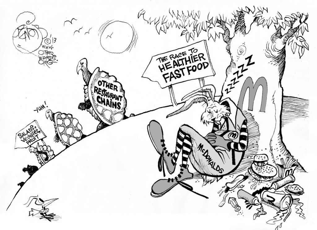 The Slow Road to Better Fast Food, an OtherWords cartoon by Khalil Bendib