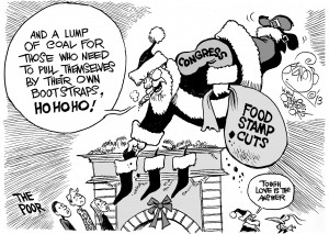Tidings of Discomfort for the Poor, an OtherWords cartoon by Khalil Bendib