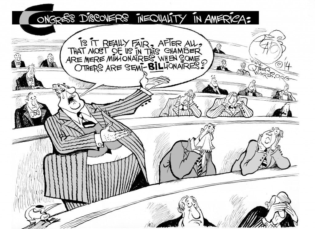 Congress Discovers Inequality in America, an OtherWords cartoon by Khalil Bendib