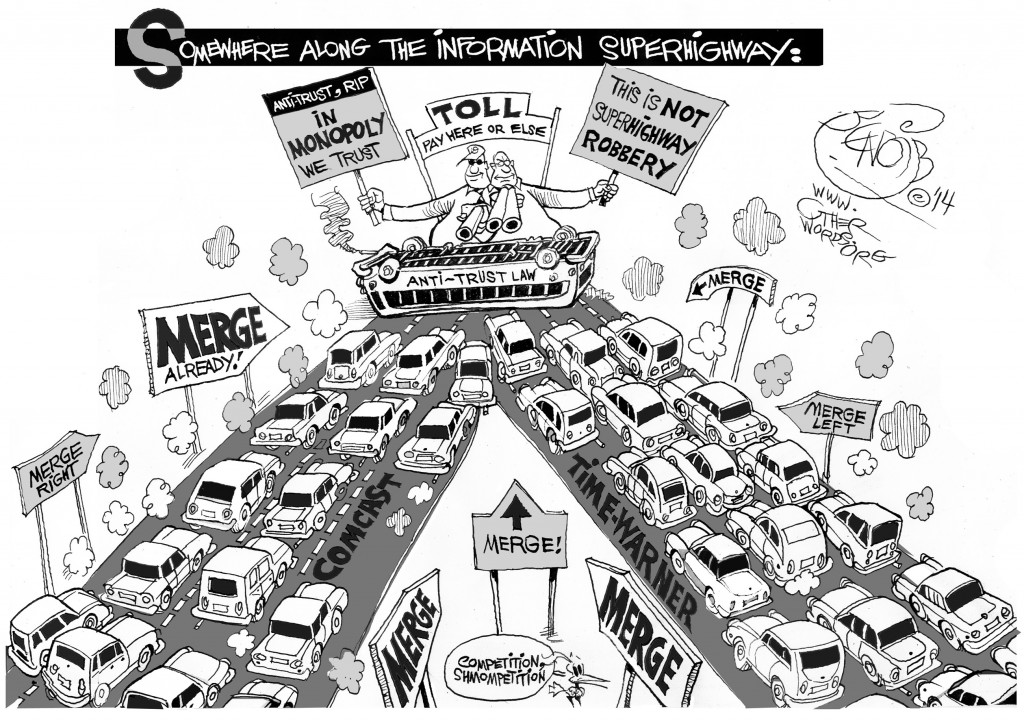 Merging into an Information Superhighway Bottleneck, an OtherWords cartoon by Khalil Bendib