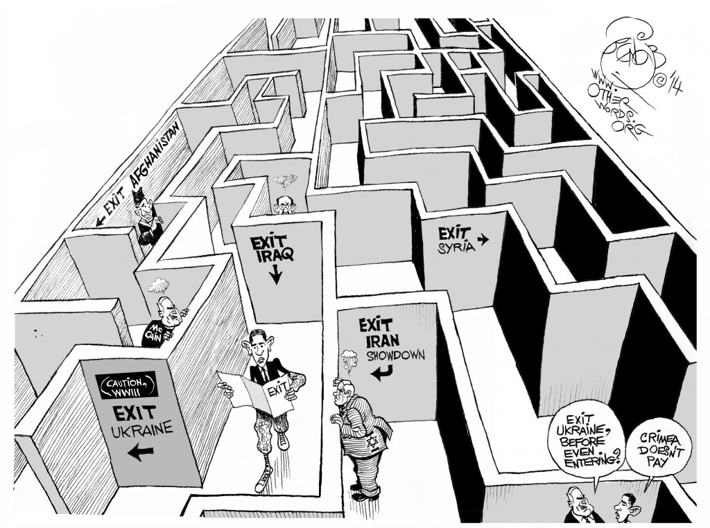 America's No-Exit Military Strategy, an OtherWords cartoon by Khalil Bendib