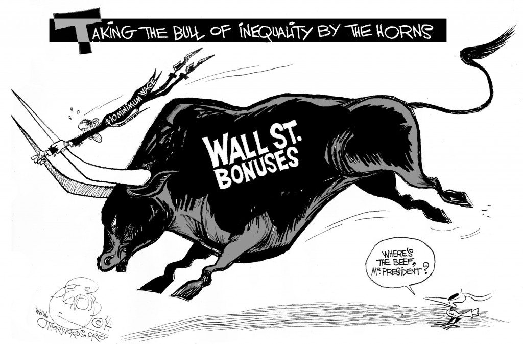 Wall Street Charges Ahead, an OtherWords cartoon by Khalil Bendib