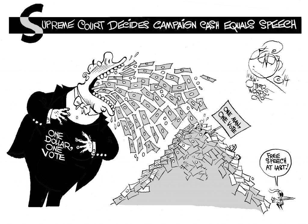 When Campaign Cash Equals Speech, an OtherWords cartoon by Khalil Bendib
