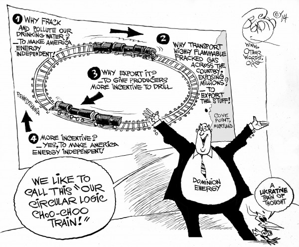 Fracking Lucrative Train of Thought, an OtherWords cartoon by Khalil Bendib