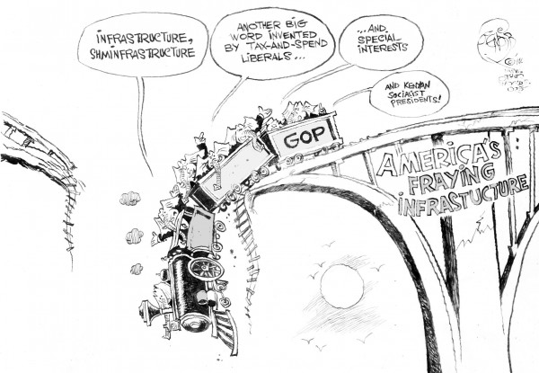 America's Fraying Infrastructure, an OtherWords cartoon by Khalil Bendib