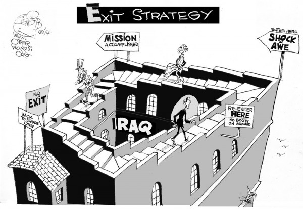 No Exit Strategy, an OtherWords cartoon by Khalil Bendib