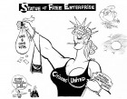 Statue of Free Enterprise, an OtherWords cartoon by Khalil Bendib