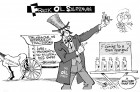The Frack Oil Salesman, an OtherWords cartoon by Khalil Bendib