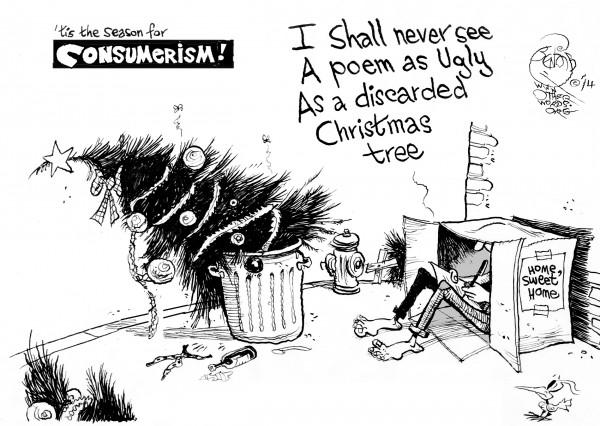 'Tis the Season, an OtherWords cartoon by Khalil Bendib