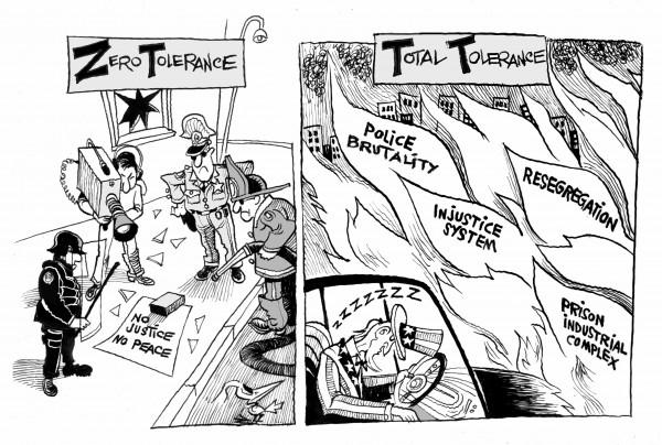 Baltimore's Tolerance Double Standard, an OtherWords cartoon by Khailil Bendib