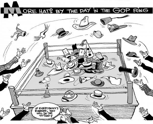 More GOP Hats in the Ring, an OtherWords cartoon by Khalil Bendib