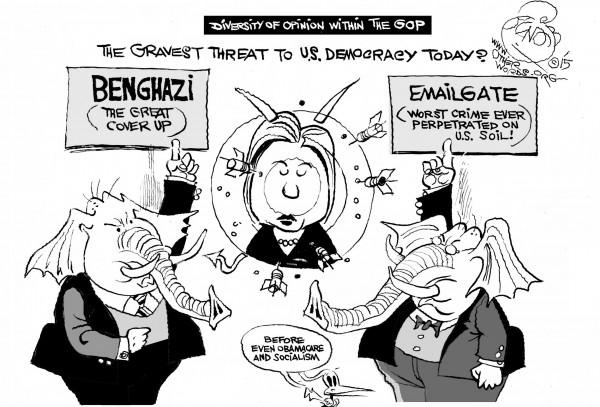 The Debate Dividing the GOP, an OtherWords cartoon by Khalil Bendib
