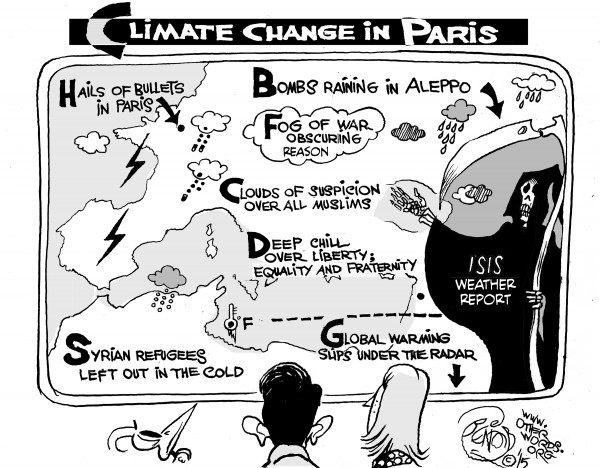 Climate Change in Paris, an OtherWords cartoon by Khalil Bendib