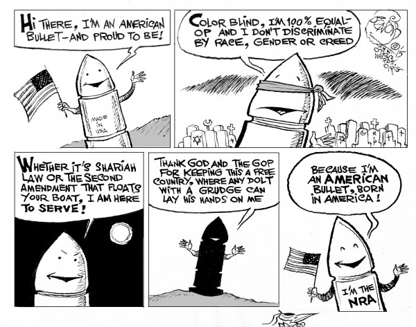 All-American Bullet,  an OtherWords cartoon by Khalil Bendib