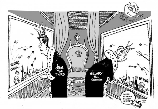 Usurping the Bush and Clinton Dynasties, an OtherWords cartoon by Khalil Bendib