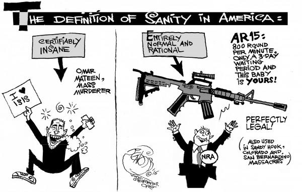 America's Background Check an OtherWords cartoon by Khalil Bendib