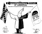 A Klansman holds a Confederate flag in one hand and a GOP flag in the other,